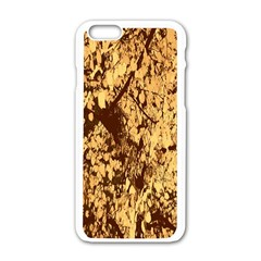 Abstract Brachiate Structure Yellow And Black Dendritic Pattern Apple iPhone 6/6S White Enamel Case