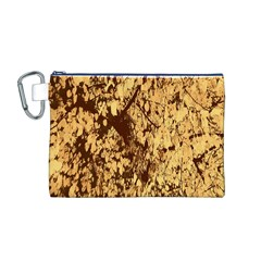 Abstract Brachiate Structure Yellow And Black Dendritic Pattern Canvas Cosmetic Bag (m)