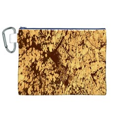 Abstract Brachiate Structure Yellow And Black Dendritic Pattern Canvas Cosmetic Bag (xl)