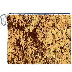 Abstract Brachiate Structure Yellow And Black Dendritic Pattern Canvas Cosmetic Bag (XXXL)