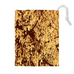 Abstract Brachiate Structure Yellow And Black Dendritic Pattern Drawstring Pouches (Extra Large)