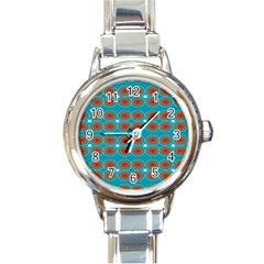 Floral Seamless Pattern Vector Round Italian Charm Watch