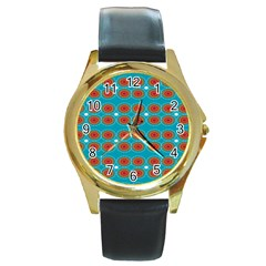 Floral Seamless Pattern Vector Round Gold Metal Watch