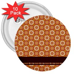 Floral Seamless Pattern Vector 3  Buttons (10 pack)