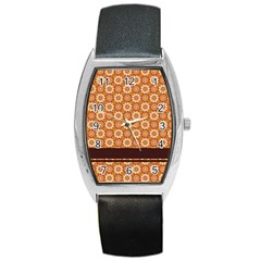 Floral Seamless Pattern Vector Barrel Style Metal Watch