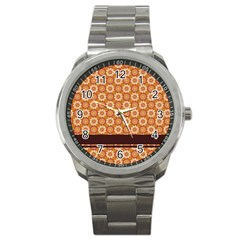 Floral Seamless Pattern Vector Sport Metal Watch