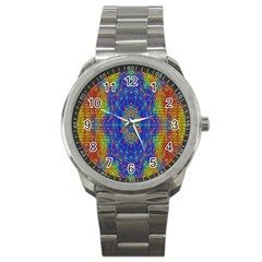 A Creative Colorful Backgroun Sport Metal Watch
