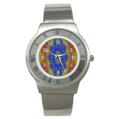 A Creative Colorful Backgroun Stainless Steel Watch