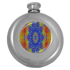 A Creative Colorful Backgroun Round Hip Flask (5 Oz)