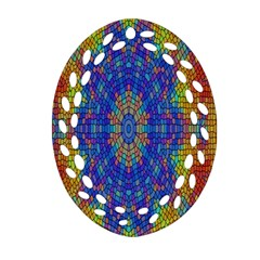 A Creative Colorful Backgroun Oval Filigree Ornament (two Sides)