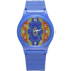 A Creative Colorful Backgroun Round Plastic Sport Watch (S)