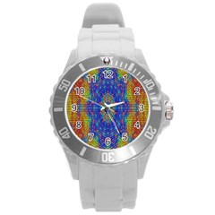 A Creative Colorful Backgroun Round Plastic Sport Watch (l)