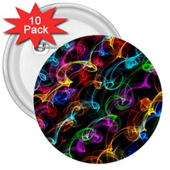Rainbow Ribbon Swirls Digitally Created Colourful 3  Buttons (10 pack)