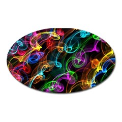 Rainbow Ribbon Swirls Digitally Created Colourful Oval Magnet