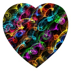 Rainbow Ribbon Swirls Digitally Created Colourful Jigsaw Puzzle (Heart)