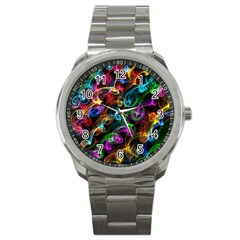 Rainbow Ribbon Swirls Digitally Created Colourful Sport Metal Watch