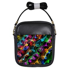 Rainbow Ribbon Swirls Digitally Created Colourful Girls Sling Bags