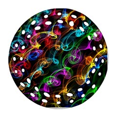 Rainbow Ribbon Swirls Digitally Created Colourful Round Filigree Ornament (two Sides)
