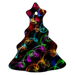 Rainbow Ribbon Swirls Digitally Created Colourful Christmas Tree Ornament (Two Sides)