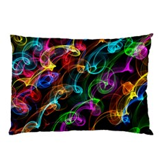Rainbow Ribbon Swirls Digitally Created Colourful Pillow Case (Two Sides)