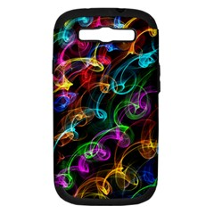 Rainbow Ribbon Swirls Digitally Created Colourful Samsung Galaxy S III Hardshell Case (PC+Silicone)