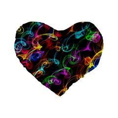 Rainbow Ribbon Swirls Digitally Created Colourful Standard 16  Premium Heart Shape Cushions