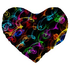Rainbow Ribbon Swirls Digitally Created Colourful Large 19  Premium Flano Heart Shape Cushions
