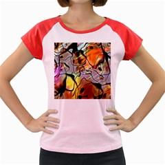 Abstract Pattern Texture Women s Cap Sleeve T-Shirt