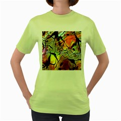 Abstract Pattern Texture Women s Green T-Shirt