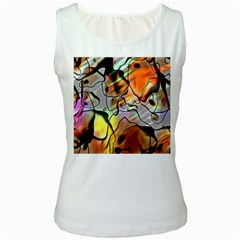 Abstract Pattern Texture Women s White Tank Top