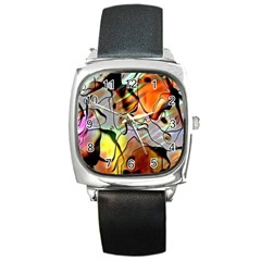 Abstract Pattern Texture Square Metal Watch