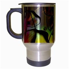 Abstract Pattern Texture Travel Mug (Silver Gray)