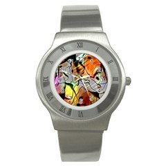 Abstract Pattern Texture Stainless Steel Watch