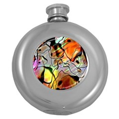 Abstract Pattern Texture Round Hip Flask (5 Oz)
