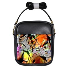 Abstract Pattern Texture Girls Sling Bags