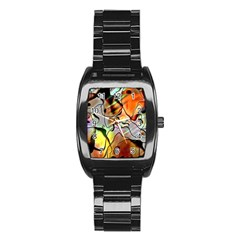 Abstract Pattern Texture Stainless Steel Barrel Watch