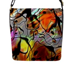 Abstract Pattern Texture Flap Messenger Bag (L)