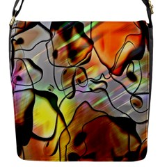 Abstract Pattern Texture Flap Messenger Bag (S)