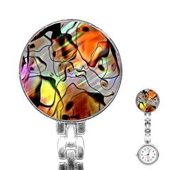 Abstract Pattern Texture Stainless Steel Nurses Watch