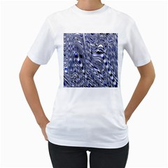 Aliens Music Notes Background Wallpaper Women s T Shirt (white) (two Sided)
