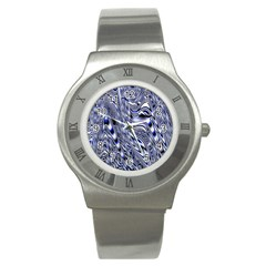 Aliens Music Notes Background Wallpaper Stainless Steel Watch