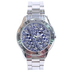 Aliens Music Notes Background Wallpaper Stainless Steel Analogue Watch