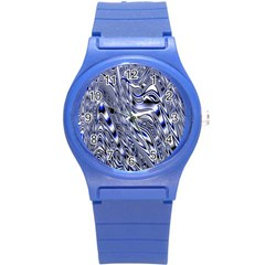 Aliens Music Notes Background Wallpaper Round Plastic Sport Watch (S)