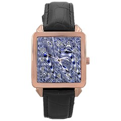 Aliens Music Notes Background Wallpaper Rose Gold Leather Watch