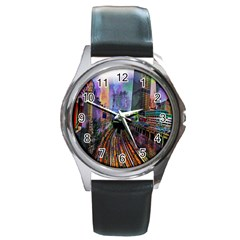 Downtown Chicago City Round Metal Watch