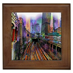 Downtown Chicago City Framed Tiles
