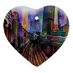Downtown Chicago City Ornament (heart)