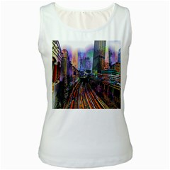 Downtown Chicago City Women s White Tank Top