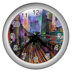 Downtown Chicago City Wall Clocks (Silver)