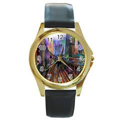 Downtown Chicago City Round Gold Metal Watch